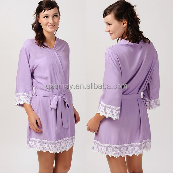 Latest gown designs 100% Cotton Hotel Fuschia Lavender Bathrobes,Plain Nightgown Trimmed with White Lace,Sleepwear For Women