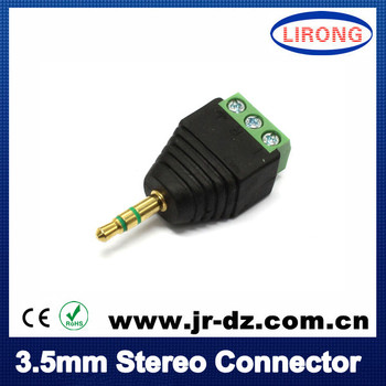 1pcs Green Male 3.5mm stereo to terminal block connector