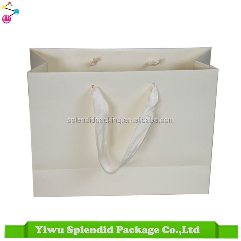 Elegant Custom Wedding Paper Bag With Ribbon Satin Handle Plain White Gift Bag