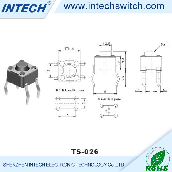 Professional micro switches copper pins micro tact switches daier manual micro switch