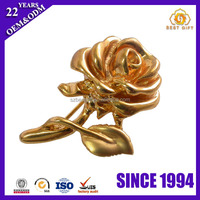 Yellow Gold Plated Rose Metal precious Lapel Pins brooches