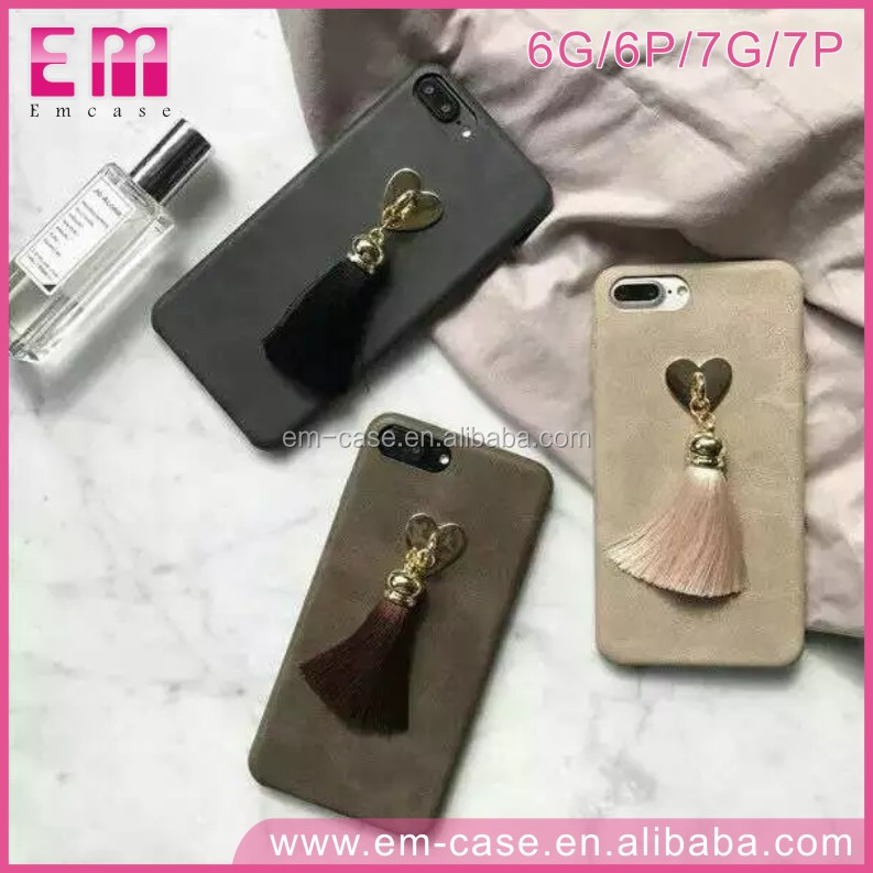For iPhone6 6plus 7 7plus Retro Scrub Keychain Glitter Golden Heart Piece Cover Silk Tassel Leather Phone Case