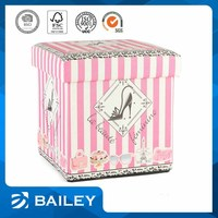 Bailey lady high-heeled shoes folding storage ottoman,printed storage ottoman