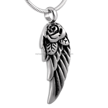 SRP8371 Fresh Choice Stainless Steel Winged Rose Cremation Jewelry Necklace