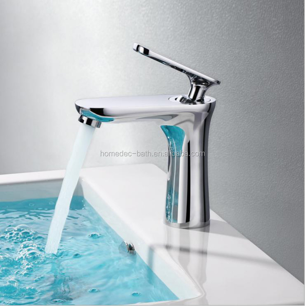 Chrome Polished Single Handle Waterfall Big Spout Bathroom Basin Brass Mixer Tap Vanity Faucet