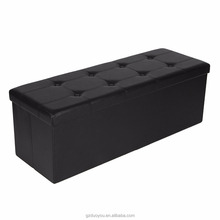 Leather Foot Rest Foldable Ottoman with Storage for Sofa / Folding Shoe Storage Ottoman Stool / Leather Footstool