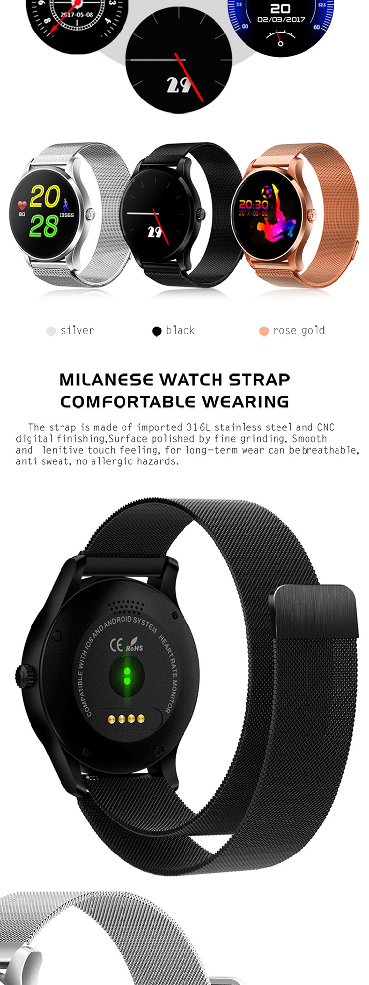 iOS Android Heart rate monitor 2017 Smartwatch phone