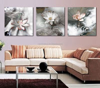 Free shipping 3 piece canvas wall art Canvas painting black with white flower Blossom painting Living room painting