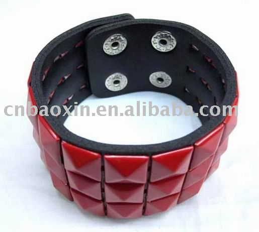 shining mental leather bow bracelet