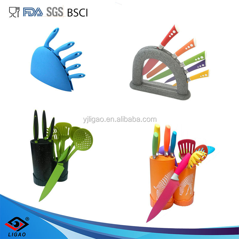 kitchen knife set with scissors and knife sharpener