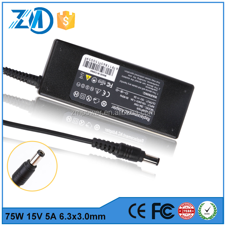 CE Certification 75W 15V 5A 6.3*3.0 Laptop power adapter for Toshiba