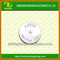 AG5 Zn/MnO2 button cell battery LR754 China