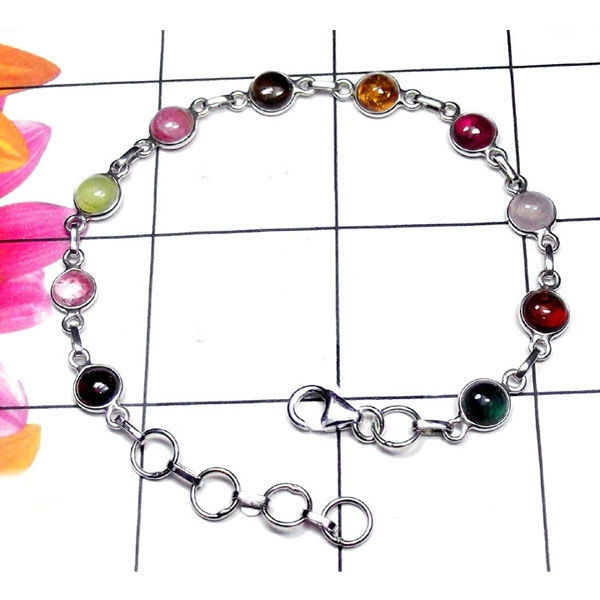 Natural AAA 10 Multi-color Tourmaline Handcrafted Designer 925 Sterling Silver Bracelet