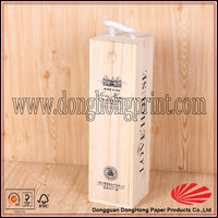 Custom logo unfinished wood box with slide lid,wine packaging box with handle