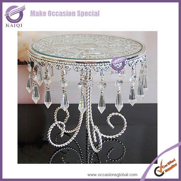 k5629 wedding fancy crystal glass cake stand with hanging crystals