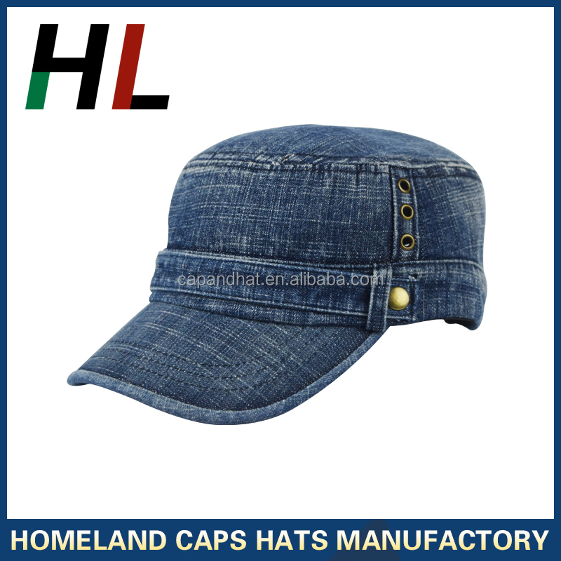 military style custom hats made of heavy washed denim material fabric strap with shoe buckle army cap