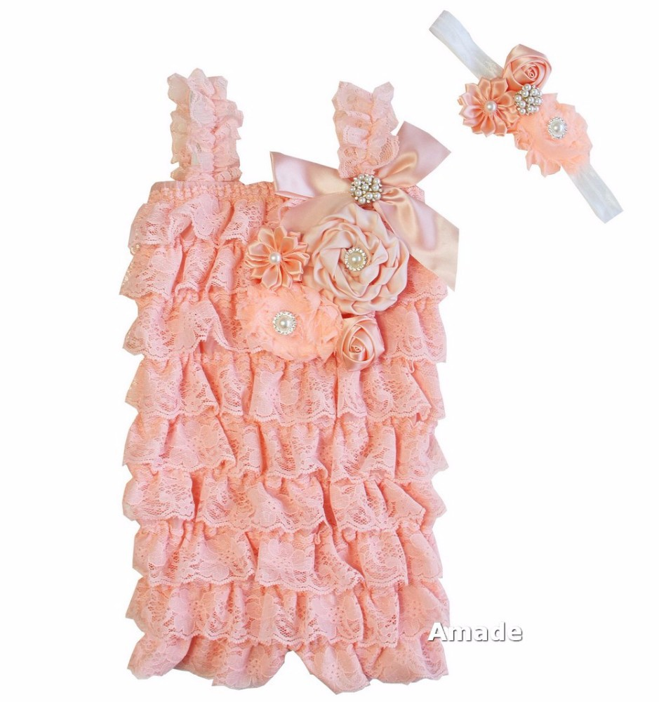 Pearl Crystal Flower Peach Lace Petti Rompers with Matching Headband