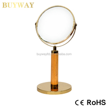 Round double side standing wooden mirror antique decorative with golden bottom