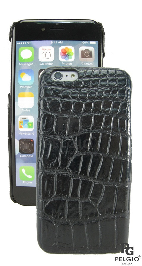 "PELGIO Genuine Crocodile Belly Skin Mobile Phone i6 4.7"" Hard Case Black"