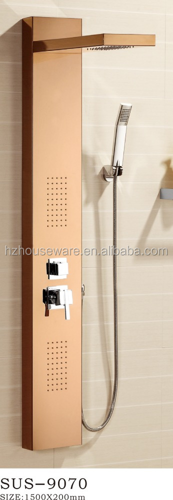 free standing thermostatic brass faucet LED stainless steel shower panel
