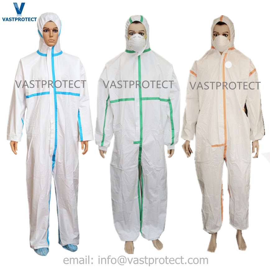 White Reinforced Disposable Coveralls with Blue/Red/Orange/Green Tape