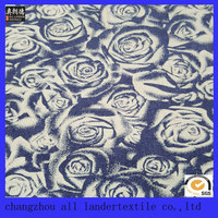 cotton twill woven rose printed denim fabric supplier