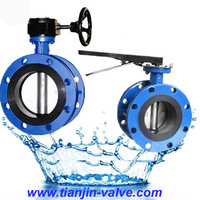 DN400 PN10 mating flange double flanged vulcanised seat butterfly valve