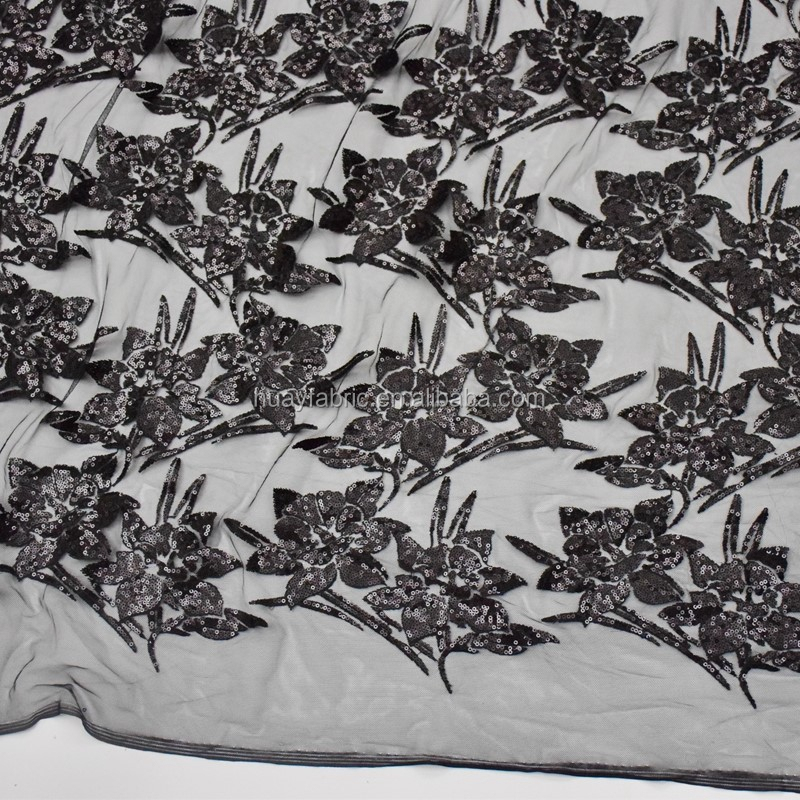 New Black Mesh Floral Embroidered Tulle lace fabric with sequins HY0254
