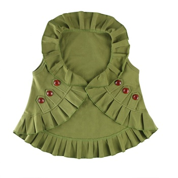 2018 winter wholesales kids girls baby clothing olive green wooden buttons boutique vest coat