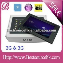 7 inch android 2.2/4.0 tablet pc with 3G calling function CE identification