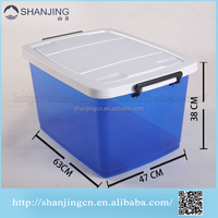 65L Wholesale Cheap Plastic Storage Box with wheels handle