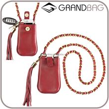 newest design mobile phone accessories leather phone case bag with neck strap cell phone holder handbag for ladies