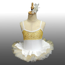 2017 New !! MBQ976 Child white gold sequin lycra ballet dance stage competition performance party tutu dress