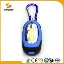 Portable magnet led keychain light COB LED flashlight with AAA battery