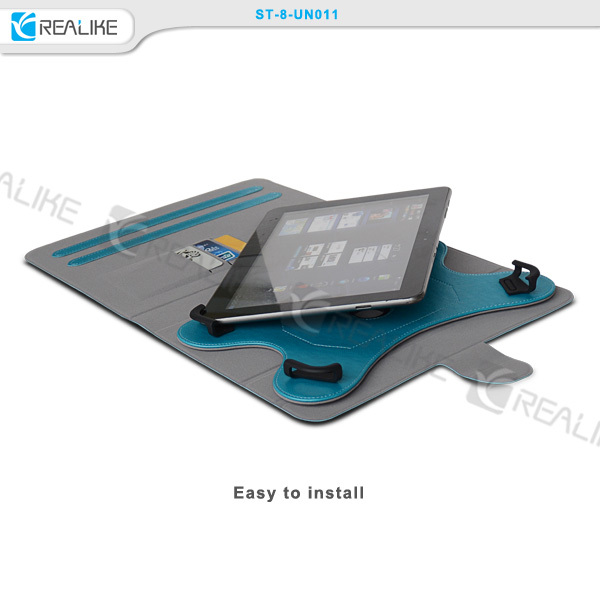 Hot selling ultra thin rotatory leather case for dell tablet with credit card pocket,universal tablet flip case
