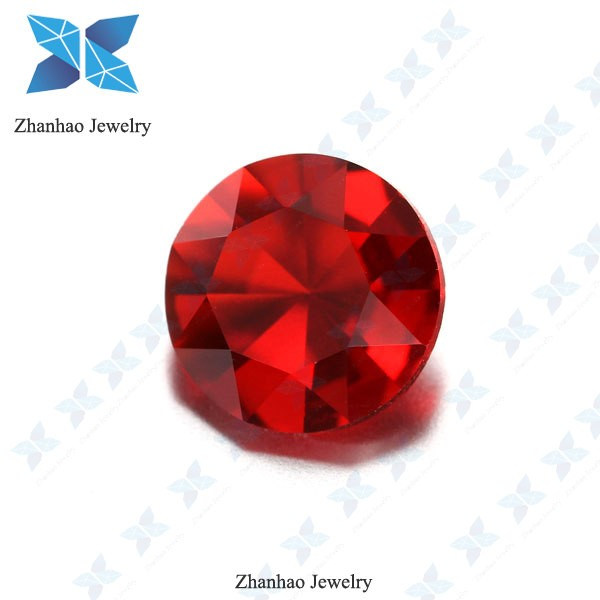 wholesale artificial red round diamond cut lose glass gemstone