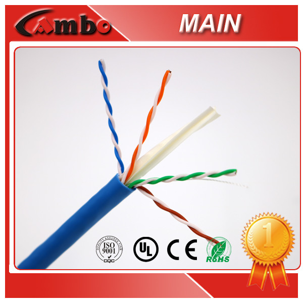 305 Meters New PVC Jacket high quality cat6 Solid CCA Conductor Noise Rejection