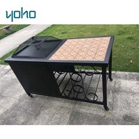 Square tile top brazier table trolly cart fire pit with wheel
