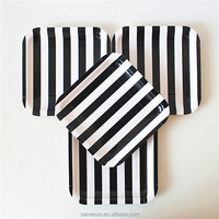 Birthday Black Striped Square Paper Plates For Party Tableware Favor
