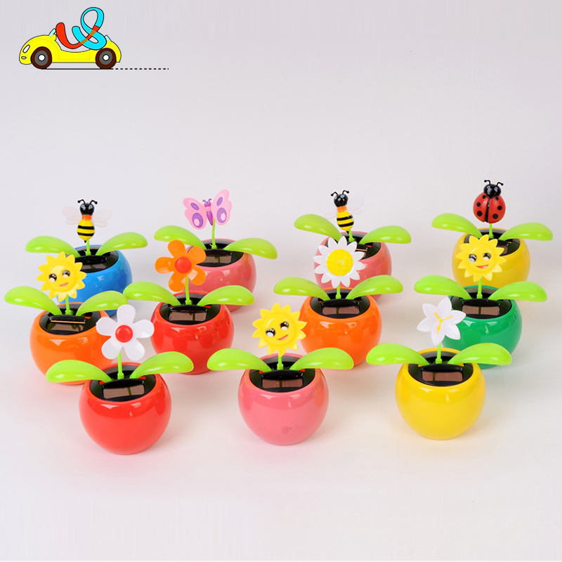 Toy children dancing flowers flip flap swing solar dancing 2 green-leaves flower design jordans//