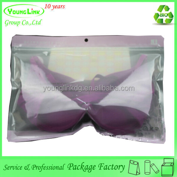 Custom printed transparent clear plastic bag for bra