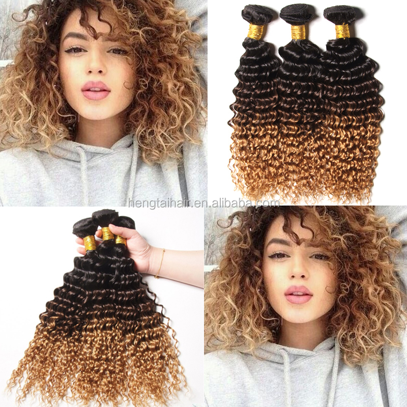 4 Bundles Deep Curly Ombre Human Hair Weave Blonde Brazilian Hair extensions Ombre Deep Curly two tone Dyed Deep Wave Hairstyle