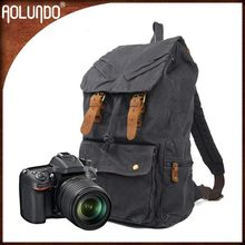 Fashion style durable dark grey canvas dslr camera backpack