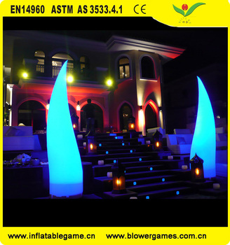 Custom color Inflatable tube With Led Light Decorations flame event lighting