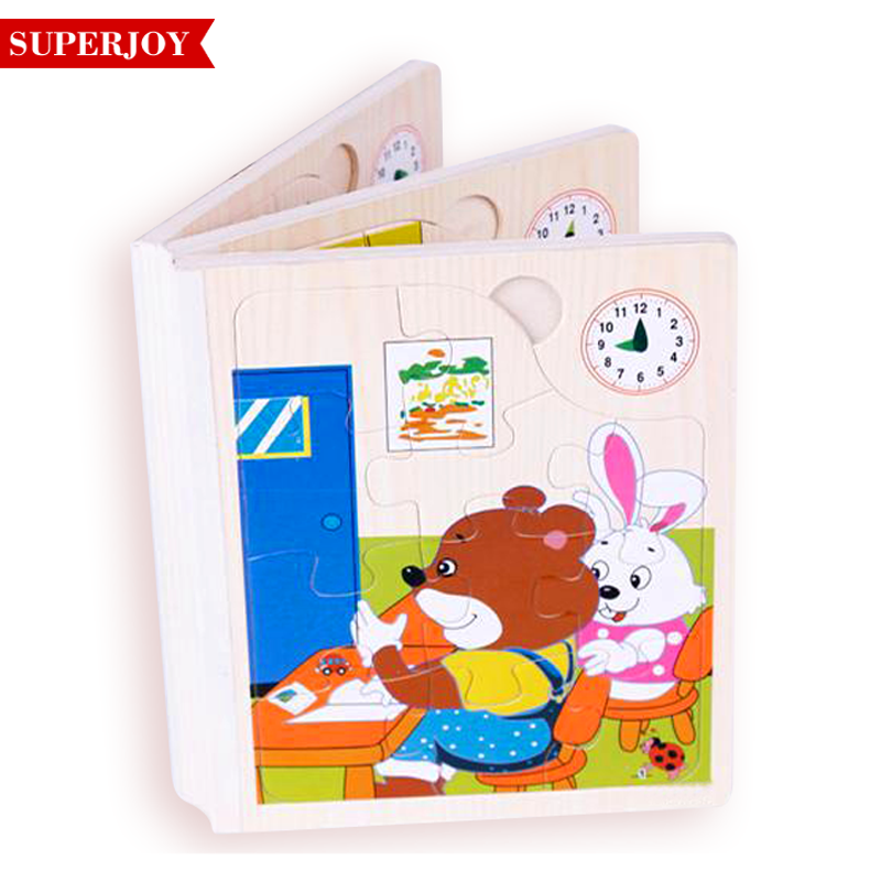 wholesales Baby Cartoon Story Wisdom Puzzle Wooden book Learning <strong>Toys</strong>