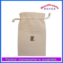 Drawstring cotton carry bag with custom logo