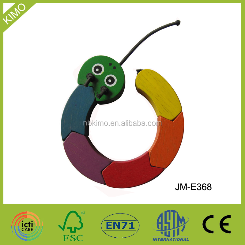 Promitonal DIY different shape wooden toy snake JM-E368