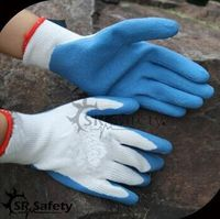 SRSAFETY cheap price gloves/10 gauge white polyester coated light blue latex gloves
