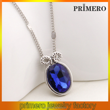 PRIMERO Fashion jewelry zinc alloy silver Crystal 12 Zodiac Necklace Aries Sign Pendant Blue horn Pendant