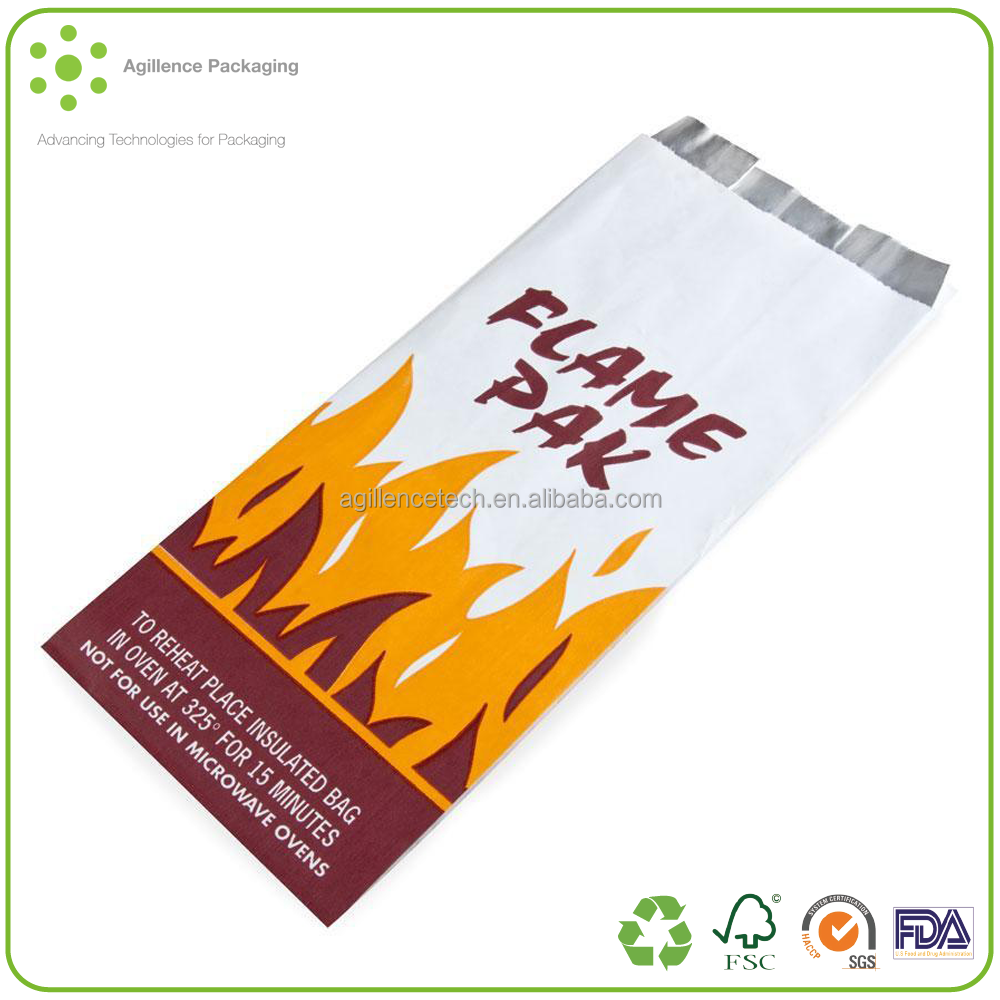 2015 Food Grade Meat Paper Bag 58gsm PE Coated Paper Bag fo Hotdog SGS Test